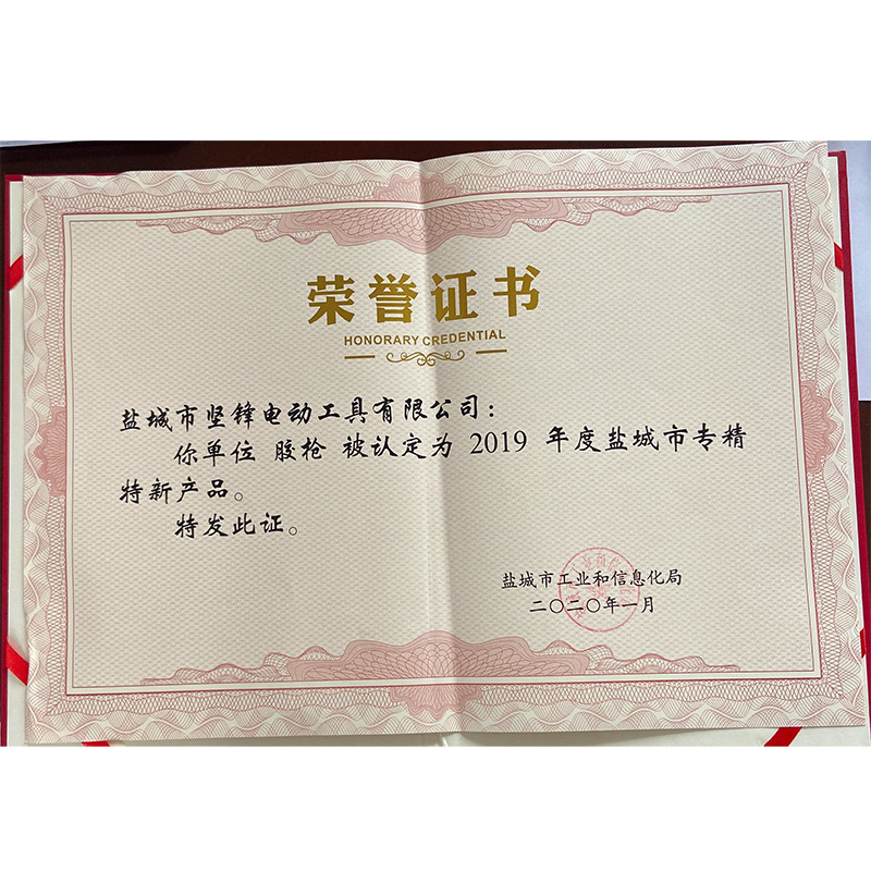 Certificate Of Specialized Special New Product